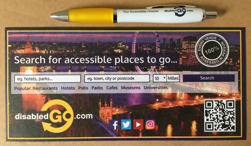 Disabled Go leaflet and pen