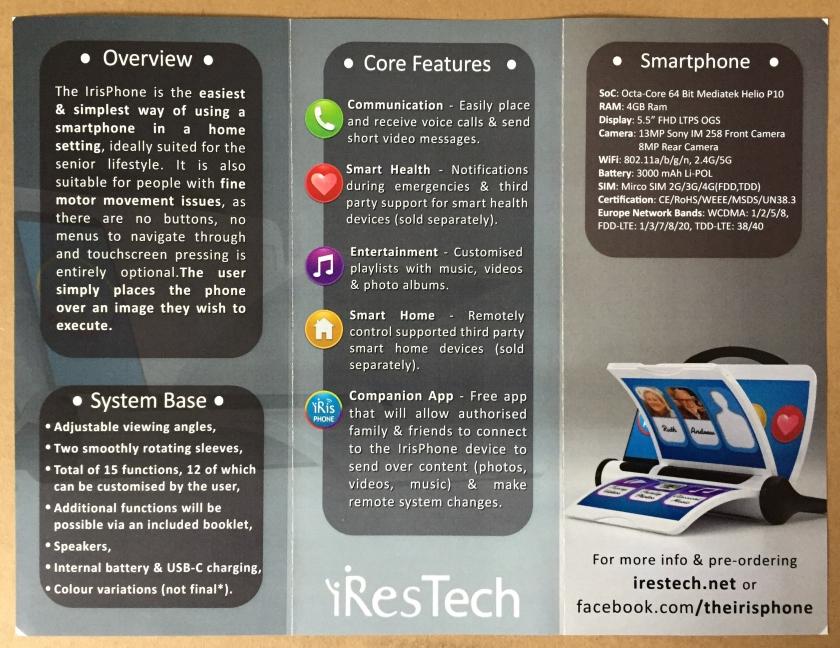 Iris Phone leaflet