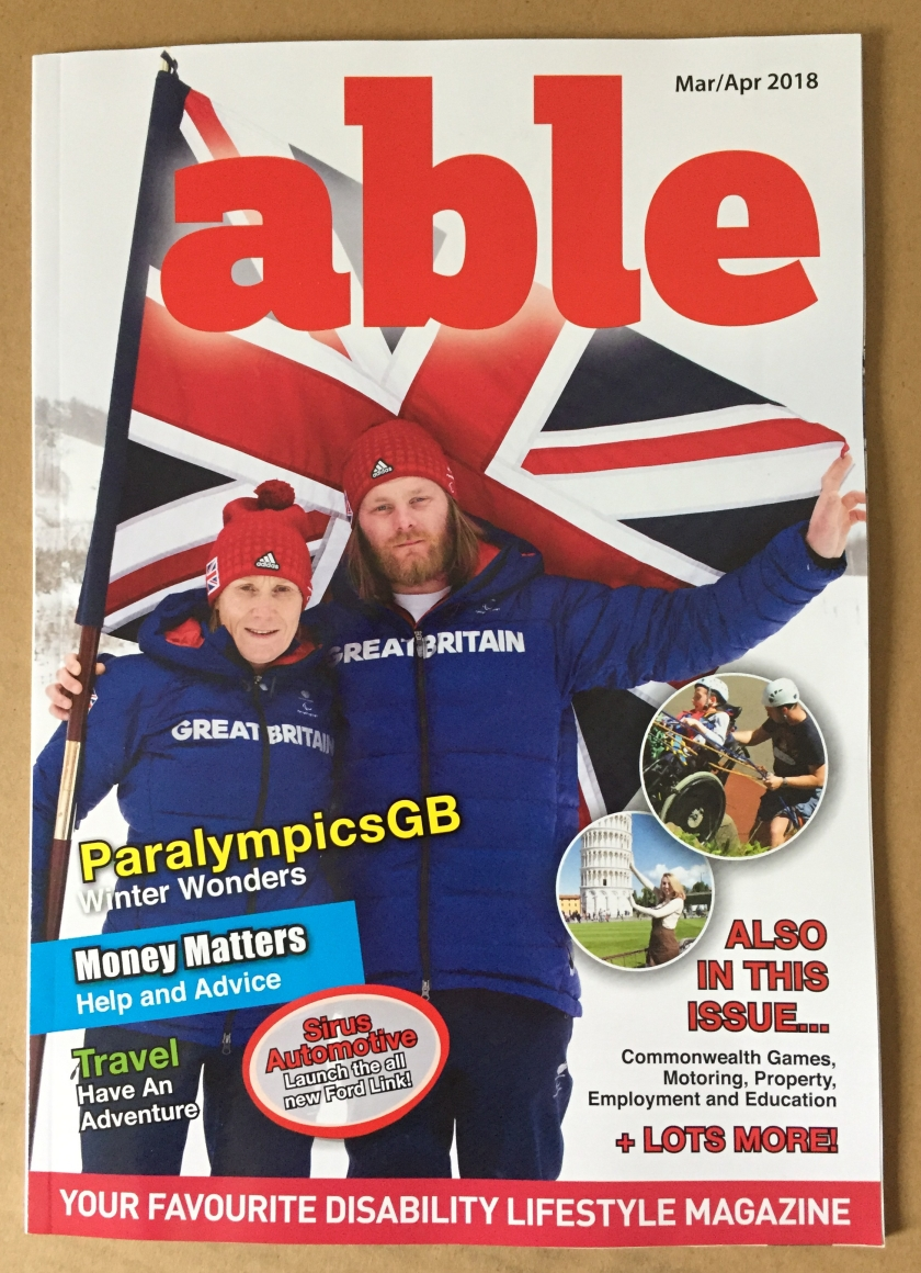 Able magazine, with 2 Paralympians holding the Union Jack flag on the cover.