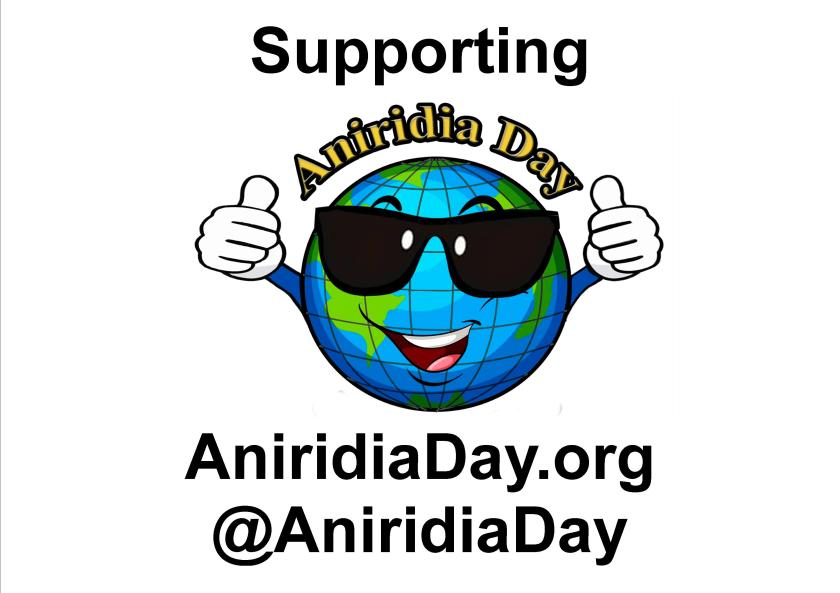 Poster with a cartoon-like image of the world, which is smiling, wearing sunglasses and giving 2 thumbs up. Above this are the words Supporting Aniridia Day. Below the globe is the website address aniridiaday.org, and the @AniridiaDay Twitter handle.