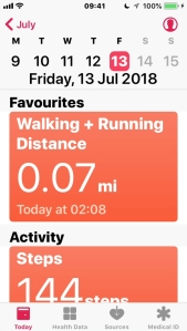iPhone screenshot of the Health app, showing how far I've walked that day. At the bottom are options for Today, Health Data, Sources and Medical ID.