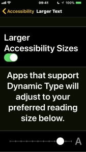 iPhone screenshot of the Larger Text settings, with a slider to adjust the text size.