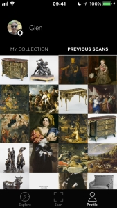 iPhone screenshot of the Smartify app, showing a grid of paintings and sculptures that I've previously scanned.