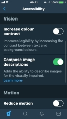 iPhone screenshot showing part of the Twitter Accessibility settings, including options to increase colour contrast and compose image descriptions.