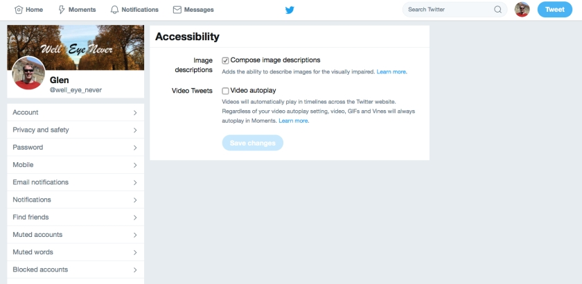 Screenshot of the Accessibility page in the Twitter settings, featuring a tick box to Compose Image Descriptions. Below it is a line of text that says it adds the ability to describe images for the visually impaired.