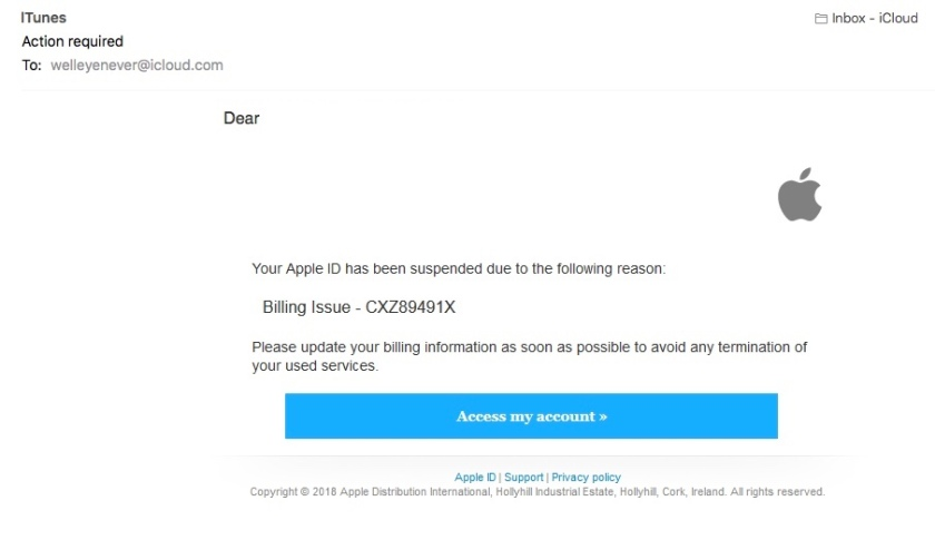 Screenshot of iTunes scam email