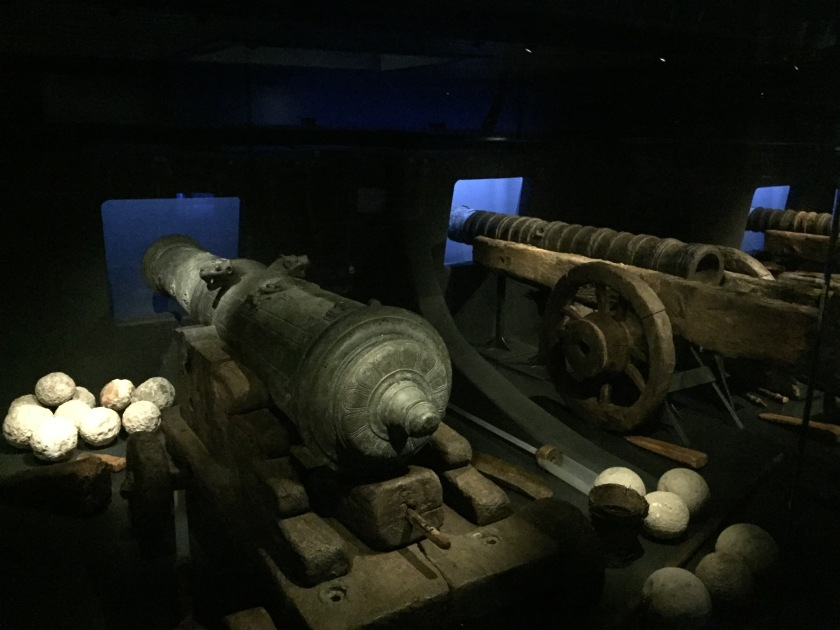 3 large cannons and some cannonballs from the Mary Rose