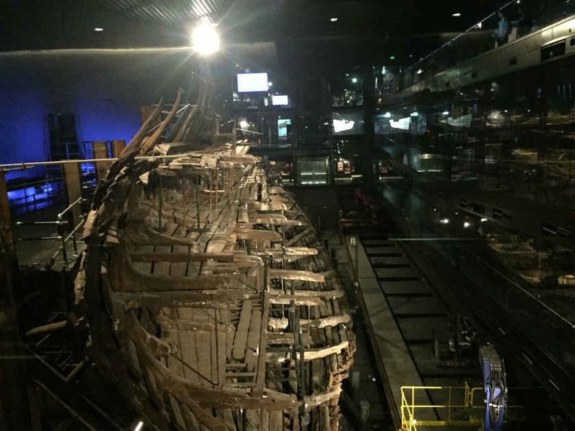 The partially rebuilt and very large wooden structure of the Mary Rose ship.