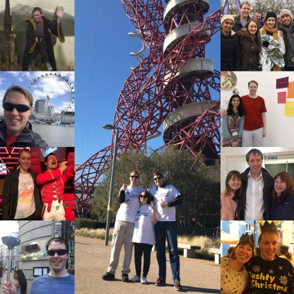 Collage of 9 photos of Glen in 2018. The tall central photo shows Glen, Claire and James smiling and giving thumbs up below the tall Orbit Tower after their abseil. A column of 4 photos on the left shows Glen flying over Hogwarts castle on a broomstick, sitting in front of the London Eye, standing by the Freddie Mercury waxwork, and smiling while holding a plunger with a small model toilet on his head. The column of 4 photos on the right show Glen posing with members of East London Vision, student artist Nihan Karim, Aniridia Network members Fern and Jenny, and South East London Vision events organiser Jessica.