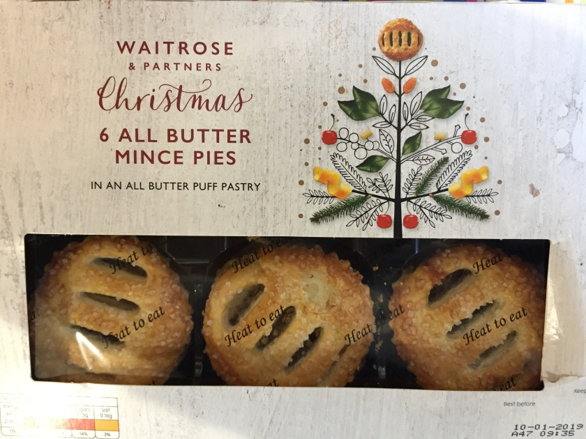 A box of 6 Waitrose All Butter Mince Pies, in an all butter puff pastry.