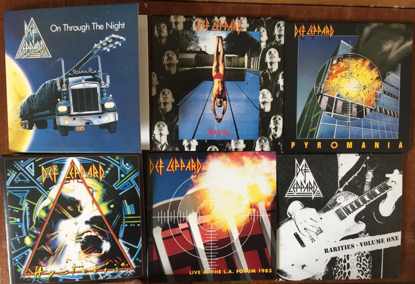 Covers for the 5 albums and rarities disc in the Def Leppard CD Collection Volume 1.