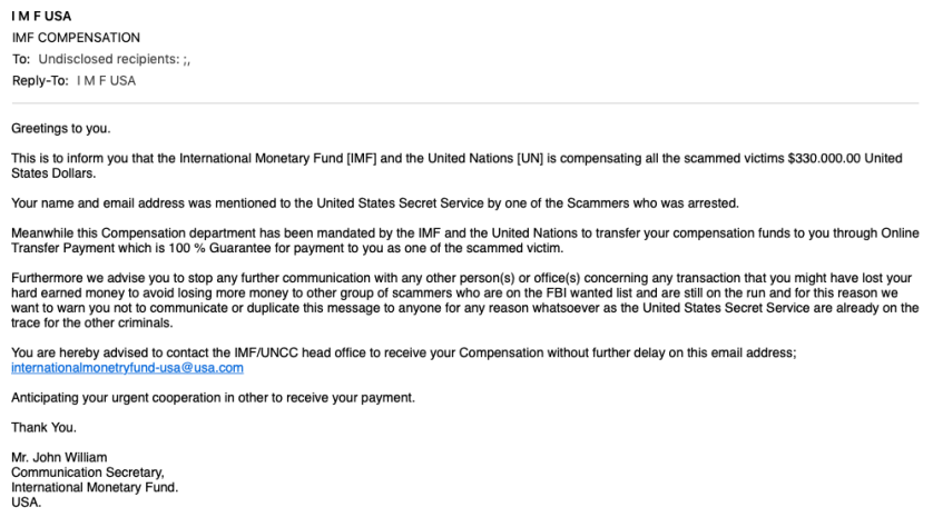 Screenshot of IMF scam email
