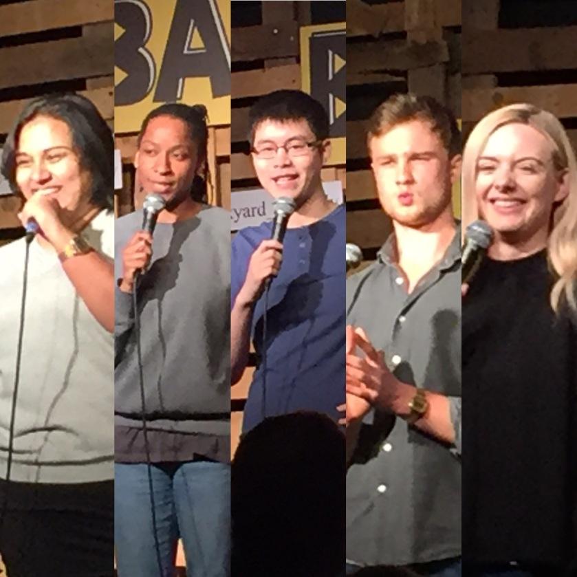 Photo collage of Sukh Ojla, Twayna Mayne, Ken Cheng, Josh Berryand Steff Todd performing at the Backyard Comedy Club