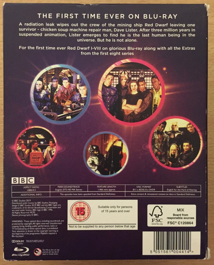 Back of the box for the Red Dwarf series 1 to 8 Blu-ray box set, featuring a brief description of the show, coloured circles featuring photos of the characters, and technical details about the set.