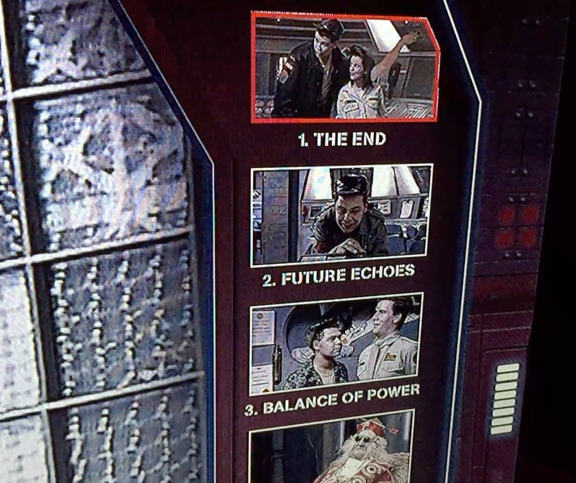 Close-up of the episodes menu on the Red Dwarf series 1 Blu-ray disc, showing thumbnail images from each episode above its number and title.
