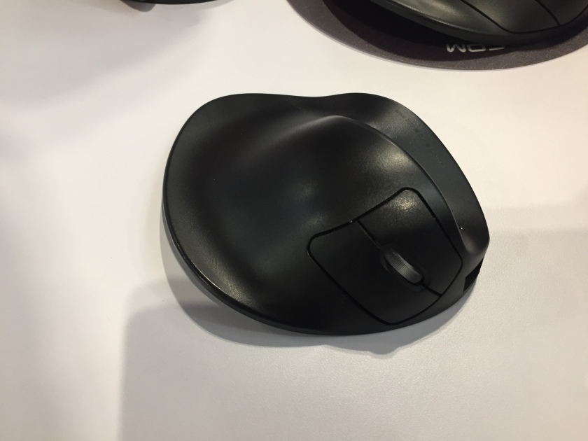 The HandShoe Mouse, larger than a standard computer mouse so you can rest your entire hand and fingers on it for full support.