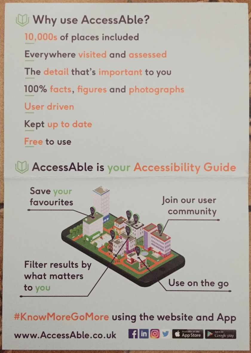 Leaflet about the AccessAble website and app.