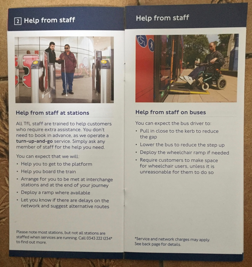 Section of a Transport For London booklet giving details of help from staff, including the Turn Up And Go assistance at stations, and assistance on buses.