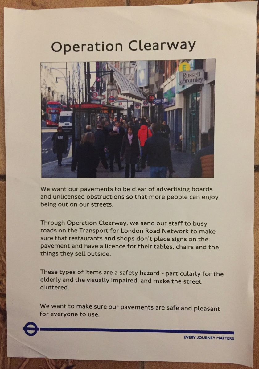 Leaflet about Operation Clearway, to reduce pavement obstructions on roads maintained by Transport for London