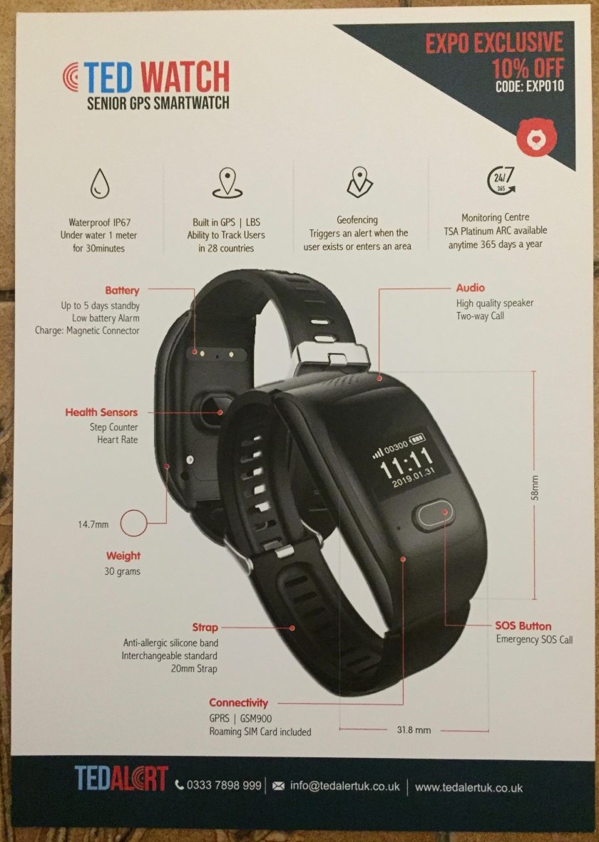 Leaflet for the TED Alert smart watch, showing a large image of the watch with its digital white on black display. Text above the watch indicates that it's waterproof, has GPS and geofencing, and can link to a monitoring centre. Labels around the describe elements like the health sensors, battery, strap, audio and SOS button.