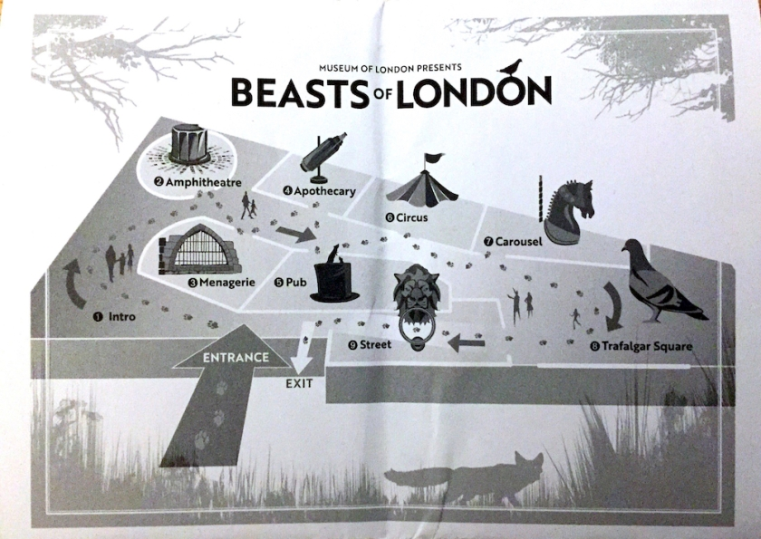 Map of the Beasts Of London exhibition, showing a path through 9 rooms called Intro, Amphitheatre, Menagerie, Apothecary, Pub, Circus, Carousel, Trafalgar Square and Street.