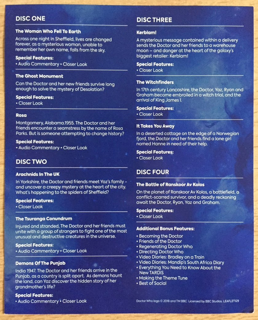 Leaflet listing the episodes and extra features on the Doctor Who Series 11 Blu-ray set.