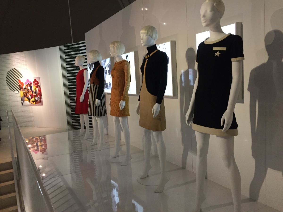 A line of 5 mannequins wearing different varieties of miniskirts designed by Mary Quant.