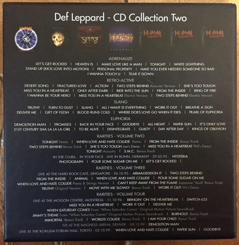 Rear of the box for Def Leppard's CD Collection Volume 2, showing the tracks on each disc. Includes the albums Adrenalize, Retro-Active, Slang, Euphoria, and 3 CDs of rarities.