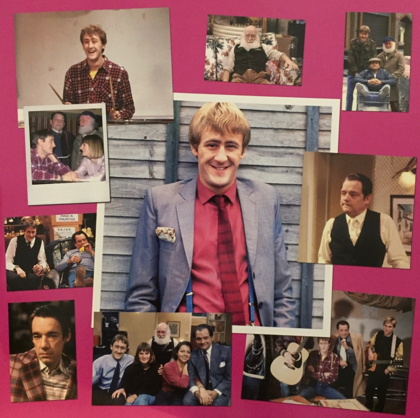 Collage of photos from Only Fools And Horses, featuring Rodney, Del Boy, Uncle Albert, Cassandra, Raquel and Trigger.