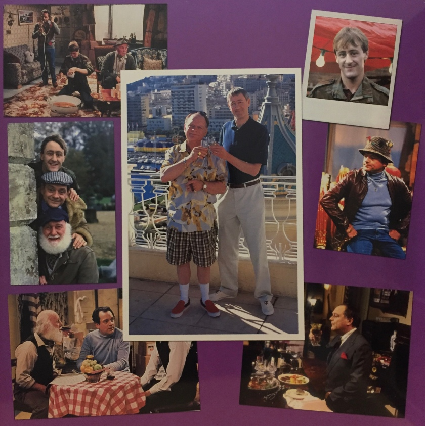 Collage of photos from Only Fools And Horses, featuring Del Boy, Rodney, Grandad and Uncle Albert. A large photo in the centre shows Del Boy and Rodney smiling and clinking glasses of champagne, as they stand on a balcony in the sunshine with a cityscape behind them.