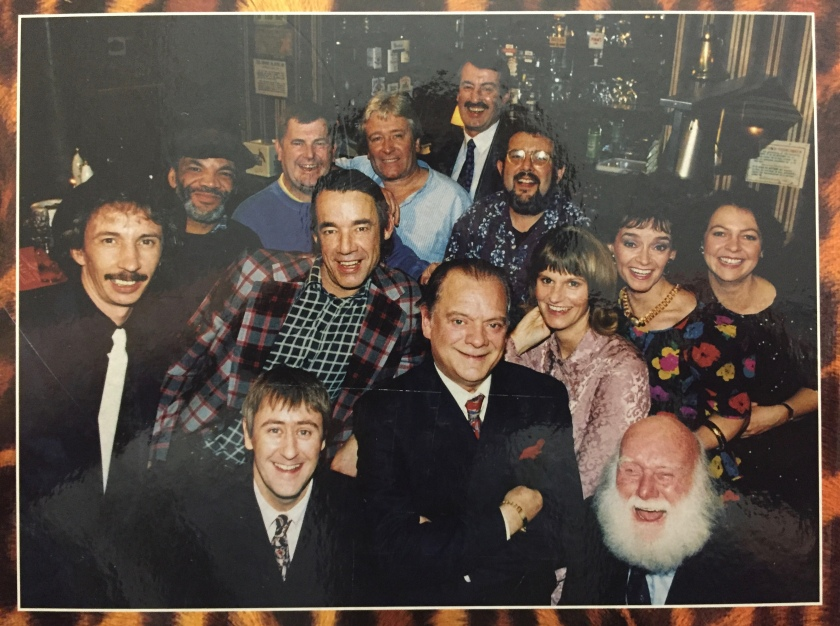 Group photo of the cast from Only Fools And Horses, including the writer of the series, John Sullivan.