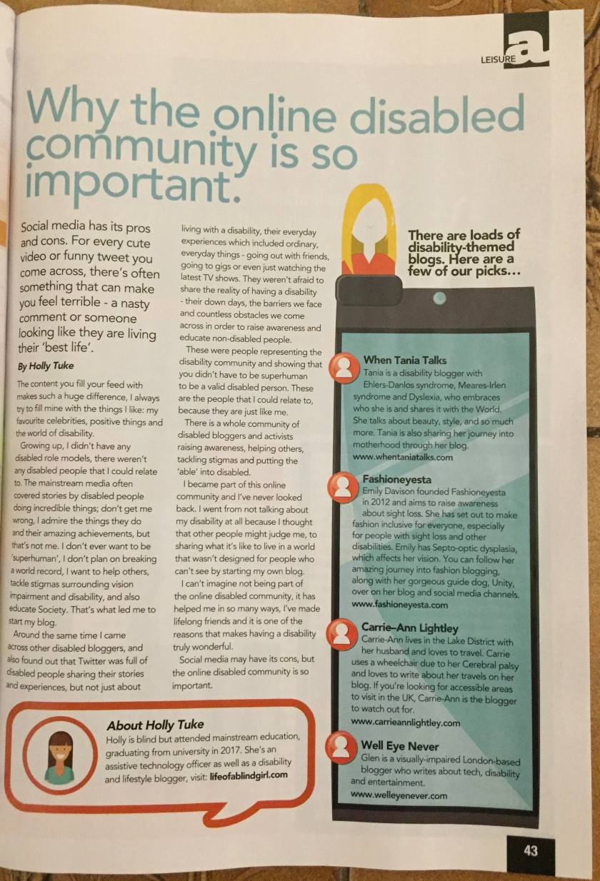 Able Magazine article by Holly Tuke, entitled Why The Online Disabled Community Is So Important. To its right is a sidebar recommending the bloggers When Tania Talks, Fashioneyesta, Carrie-Ann Lightley and Well Eye Never.