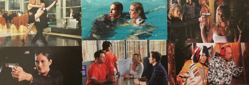 Collage of photos from the Chuck series, including Chuck and Sarah dancing, Chuck and Sarah in a swimming pool while still clothed, Sarah pointing a gun at another lady who has her arms raised, and John and Lester in prison being visited by Chuck and Sarah.