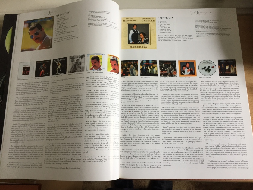Pages from the Freddie Mercury Solo Collection book about the Mr. Bad Guy and Barcelona albums.
