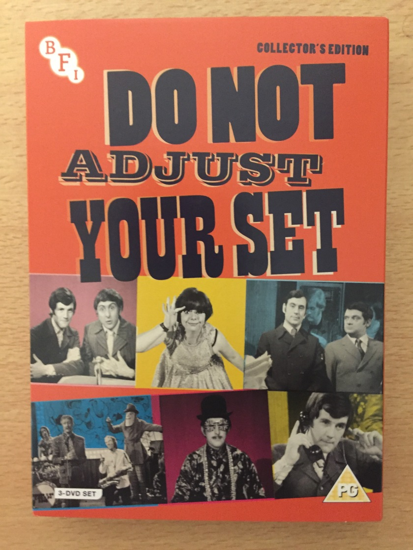 DVD cover for Do Not Adjust Your Set, Collector's Edition. Features a black and white image of the stars of the show, who are Michael Palin, Eric Idle, Terry Jones, David Jason and Denise Coffey.