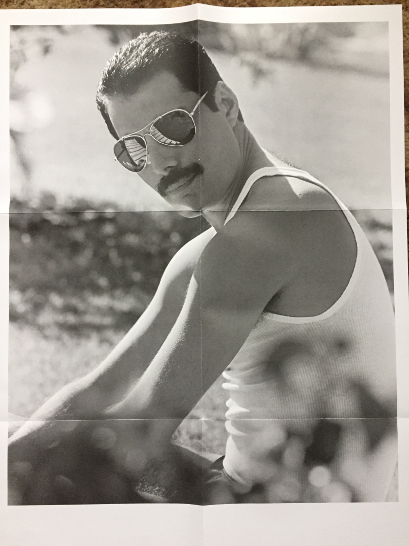 Large poster featuring a black and white photo of Freddie Mercury, sitting outside in the sunshine wearing a vest and sunglasses.