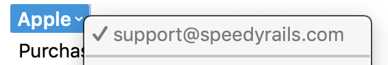 The From Address revealed when clicking on the Apple name in the scam email. The address is support at speedy rails dot com