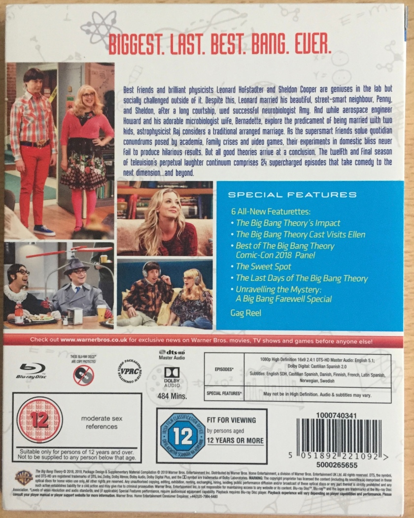 Back cover of the Blu-ray case for The Big Bang Theory Season 12, featuring photos of the various cast members in the show. Special features include 6 all new featurettes looking back at the show's best moments and attending a Comic-Con panel, plus a gag reel.