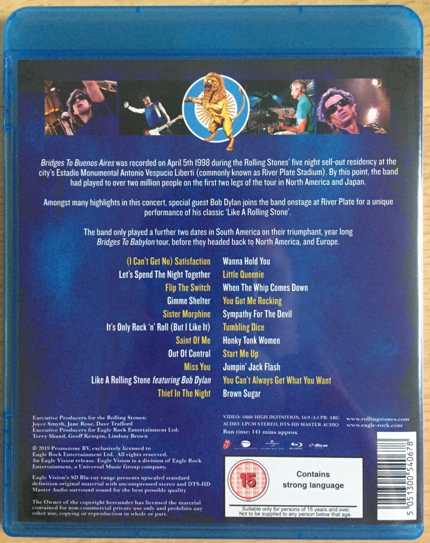 The Rolling Stones - Bridges To Buenos Aires Blu-ray Rear