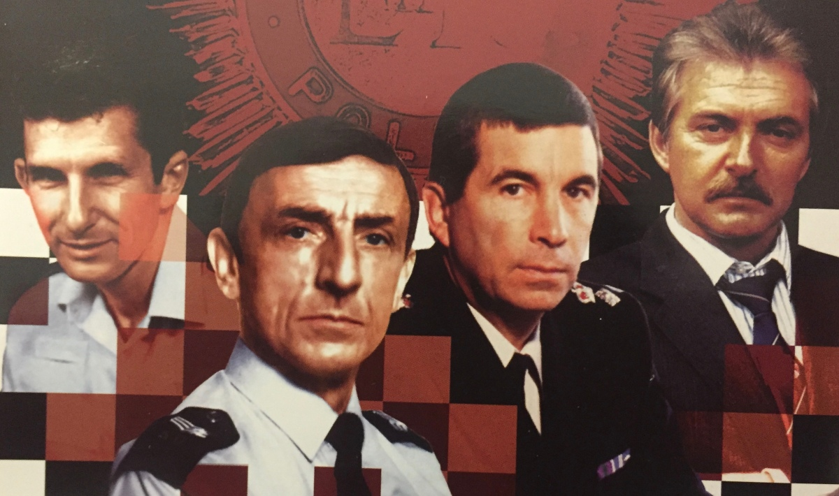 Collage of characters from TV cop show The Bill, showing Reg Hollis, Bob Cryer, Charles Brownlow and Ted Roach.