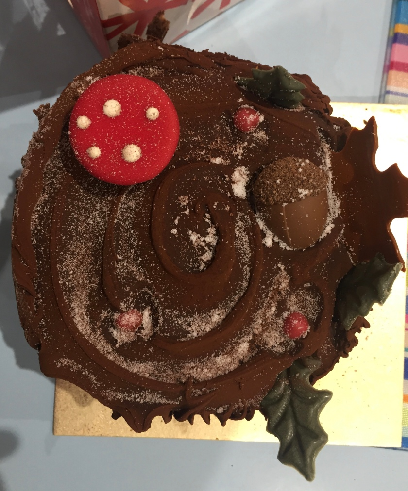 Large chocolate Yule Log from Marks & Spencer, with edible woodland decorations such as leaves and a toadstool sticking out of it.