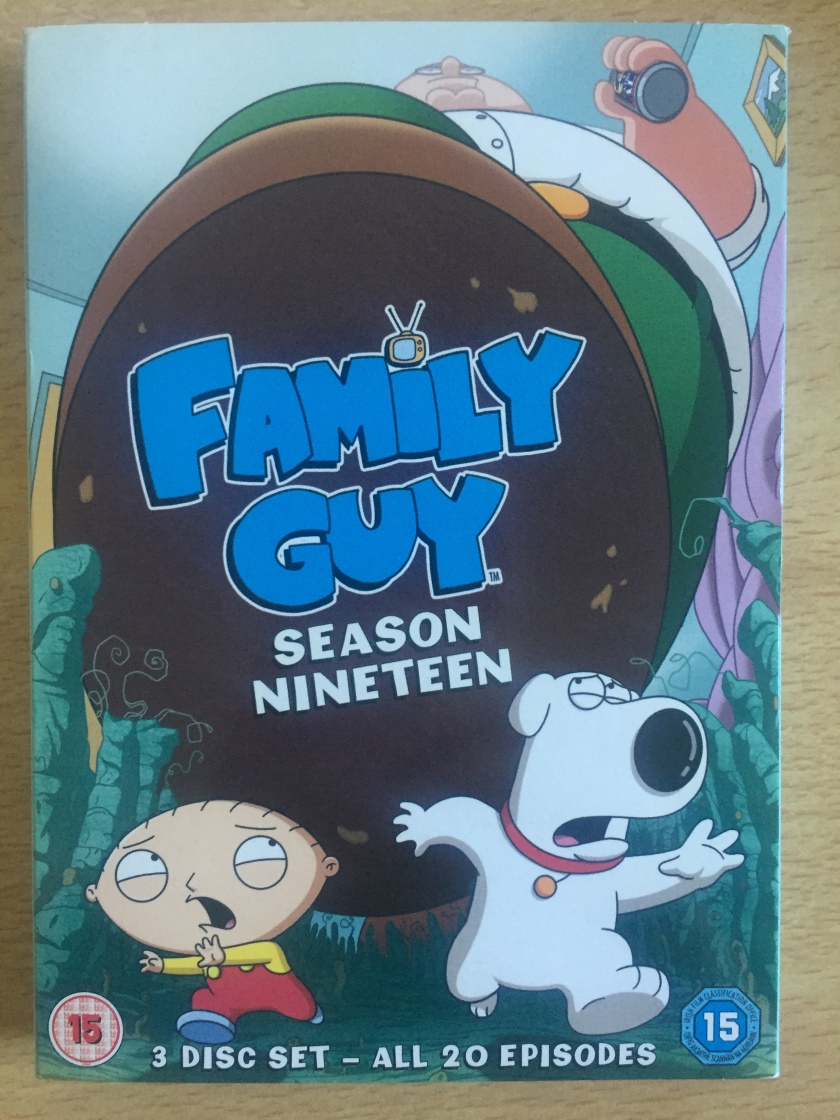 DVD cover for Family Guy season 19, with a shrunken baby Stewie and dog Brian running away in terror as Peter Griffin's giant foot is about to step on them both.