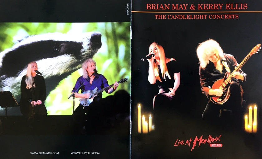 Front and back cover spread of the Blu-ray booklet for The Candlelight Concerts, showing Kerry Ellis and Brian May sitting on stools as they perform on stage. The front cover shows candles around them, while the back cover has a badger on the large video screen behind them.