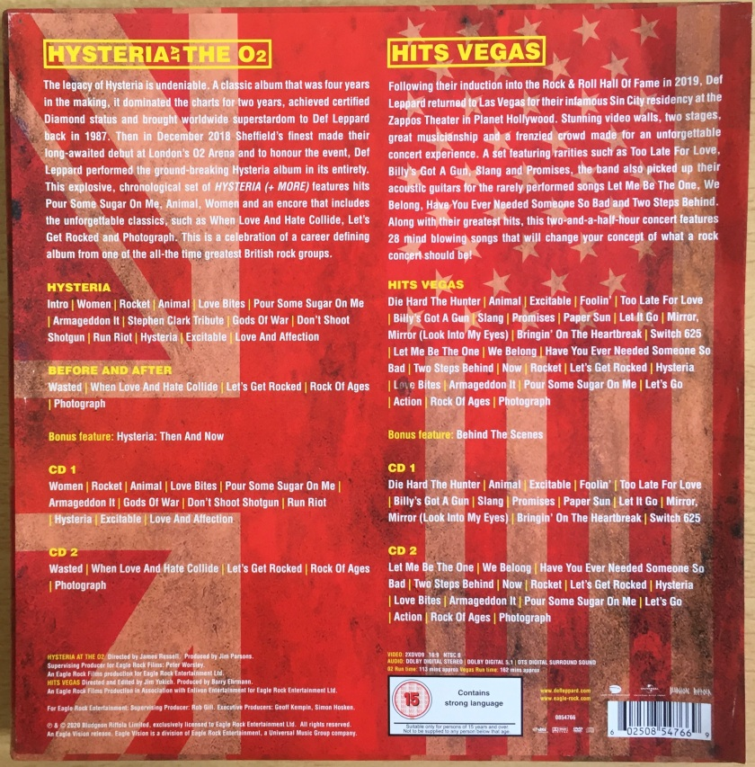 Back of the box for the Def Leppard London To Vegas box set, showing descriptions and track listings for the DVDs and CDs. The UK and USA flags are faded into the red background, so that the text on top stands out more easily, with the headings in yellow and text in white.