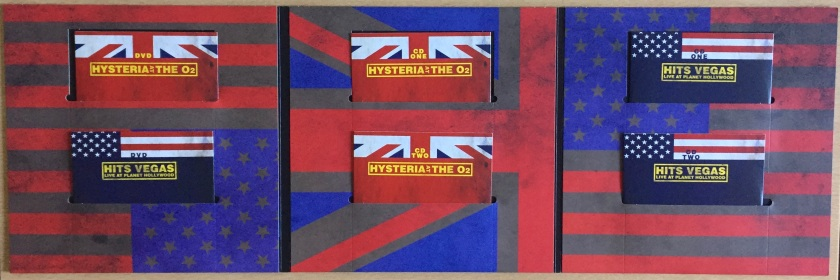 Large 3 panel foldout sleeve from the Def Leppard London To Vegas box set, with faded versions of the Union Jack and American flags across the background. Each panel has 2 cutout pockets 1 above the other, each housing a cardboard sleeve containing a disc. The left panel holds the 2 DVDs, while the central and right panels hold the CDs for the London and Vegas shows respectively, 2 CDs each.