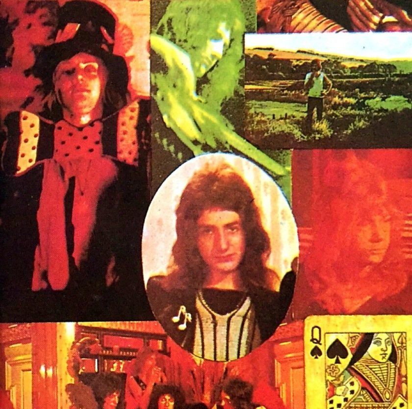 A colourful collage of photos of Queen performing and relaxing, including an image of Freddie standing in a field.