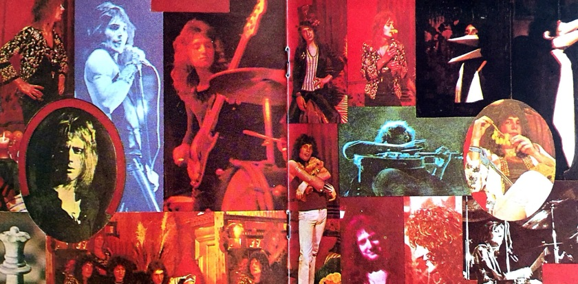 A colourful collage of photos of Queen performing and relaxing, including Freddie holding a bunch of grapes.