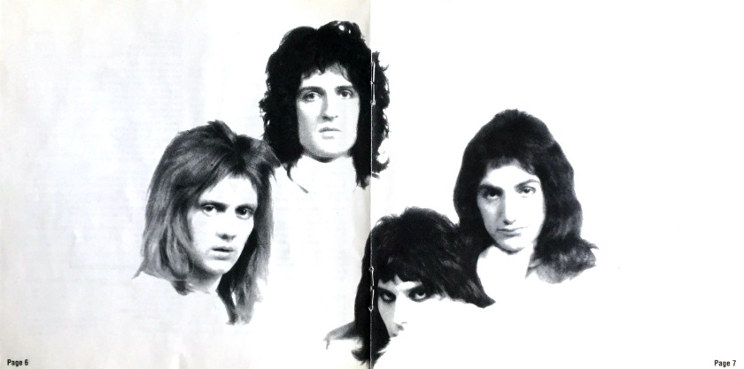 Centre booklet spread from the Queen 2 album. The 4 band members are dressed in white against a white background, so only their heads are visible. Again they're in a diamond formation - Brian at the top, Freddie at the bottom, Roger on the left and John on the right.