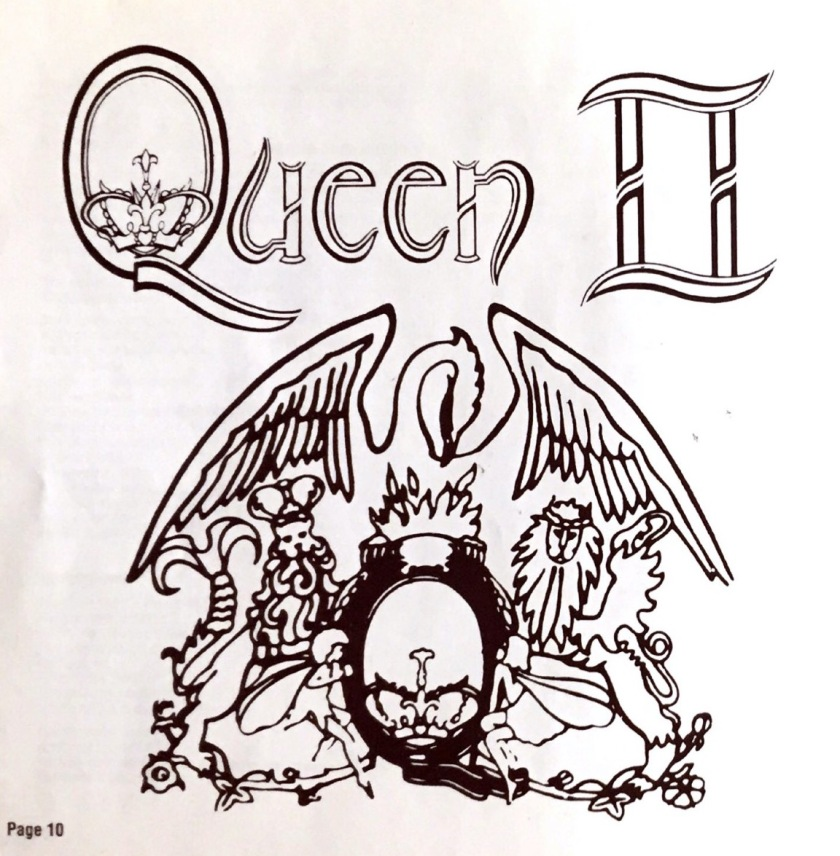 A black drawing of the Queen crest on a white background, below the album's title Queen 2. The crest has a large phoenix with outstretched wings looking over a large letter Q. A royal crown sits inside the Q, on the bottom, while a small crab sits on top of the Q. 2 lions and 2 fairies complete the picture, 1 of each sitting on each side of the Q and facing towards it.