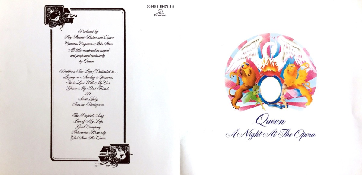 Booklet cover spread with a white background for the Queen album A Night At The Opera. The front cover has a very colourful image of the Queen crest, consisting of a large phoenix with outstretched wings looking over a large letter Q, on top of which sits a small crab, on fire from the phoenix's breath. A lion and a fairy appear together on each side of the Q. The band and album names are below the crest in script lettering. The back cover features the track listing in black script lettering.